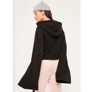 Missguided Cropped Flared Sleeve Hoodie
